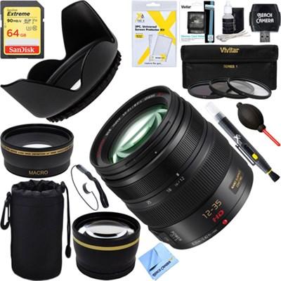 LUMIX G H-HS12035 X VARIO 12-35mm / F2.8 ASPH Lens + 64GB Ultimate Filter Bundle