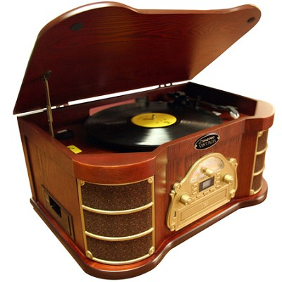 Home PTCDS2UI Classical Turntable with AM/FM Radio/ CD/ Cassette/ USB Recording
