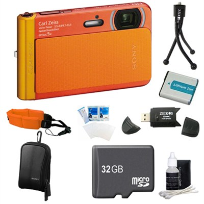 DSC-TX30/D Orange Digital Camera 32GB Bundle
