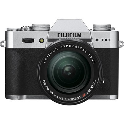 X-T10 Mirrorless Silver Digital Camera with XF18-55mm F2.8-4 R LM OIS Lens