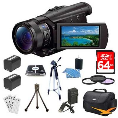 FDR-AX100/B 4K Camcorder with 1-inch Sensor & 64 GB Accessory Bundle