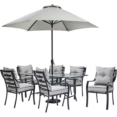 Lavallette 7-Piece Dining Set with 9-Ft. Table Umbrella and Base - LAVDN7PC-SU