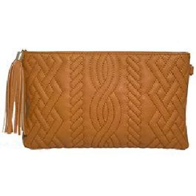 Quilted PU Clutch with Tassel (Cognac) - 3041