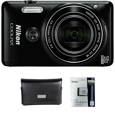 COOLPIX S6900 16MP 1080p Wi-Fi Camera w/ 12X Zoom & Flip out screen + Bundle