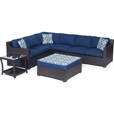Metropolitan 6-Piece Lounge Set in Navy Blue - METRO6PC-B-NVY