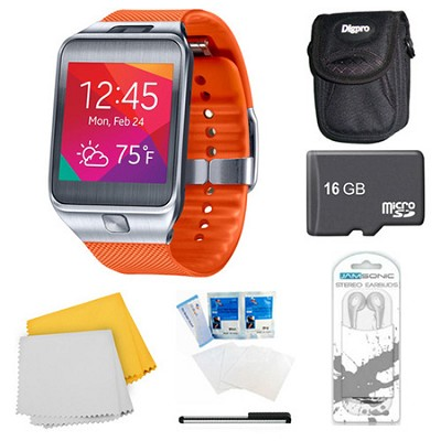 Gear 2 Orange Watch, Case, and 16GB Card Bundle