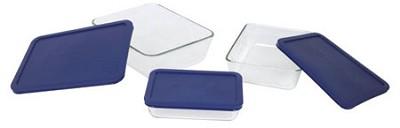 Storage 6-Piece Rectangular Set, Clear with Blue Lids - OPEN BOX