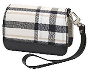 Premium Compact Leather Case (Cream Plaid)
