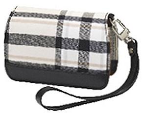 Premium Compact Leather Case (Cream Plaid)