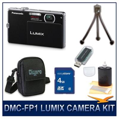 DMC-FP1K LUMIX 12.1 MP Digital Camera (Black), 4G SD Card, Card Reader & Case