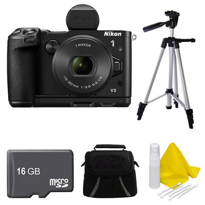 1 V3 Mirrorless 18.4MP Digital Camera with 10-30mm Lens Black 16GB Bundle