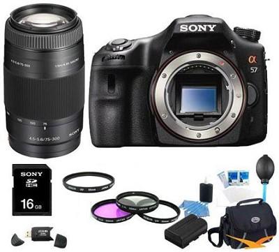 Alpha SLT-A57 Body 16.1 MP Digital SLR with Sony 75-300mm Ultimate Bundle