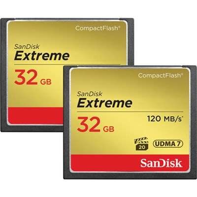 2 Pack Extreme CompactFlash UDMA 7 32GB Memory Card