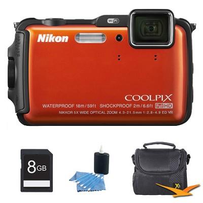 COOLPIX AW120 16MP Waterproof Shockproof Freezeproof Orange Digital Camera Kit