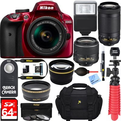 D3400 DSLR Camera w/ AF-P DX 18-55mm & 70-300mm VR Lens Accessory Bundle (Red)