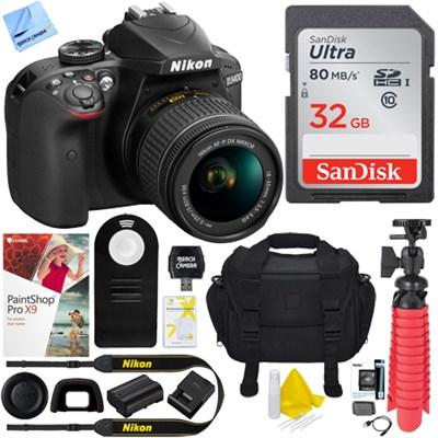 D3400 24.2 MP DSLR Camera w/ AF-P DX 18-55mm VR Lens + 32GB Kit