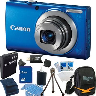 PowerShot A4000 IS 16MP Blue Digital Camera 16GB Bundle