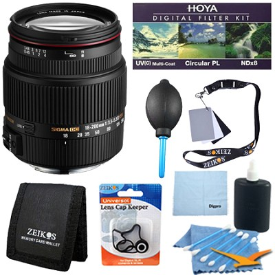 18-200mm F3.5-6.3 II DC OS HSM Zoom Lens for Canon EOS DSLR - Pro Lens Kit