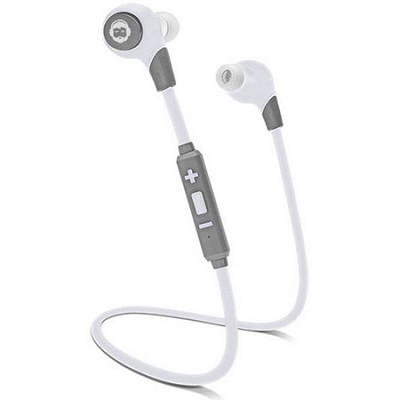 BKHC BK Sport Bluetooth Tangle-Free Earbuds with Built-In Mic - White