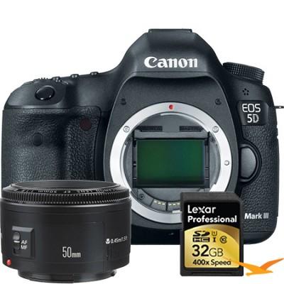 EOS 5D Mark III 22.3 MP Full Frame CMOS Lexar Memory and Lens Bundle