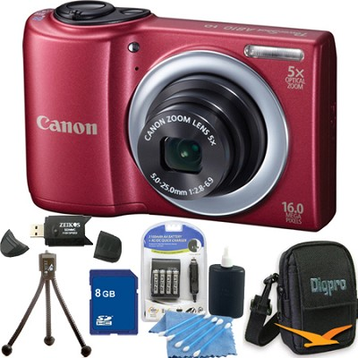 PowerShot A810 16MP Red Digital Camera 8GB Bundle