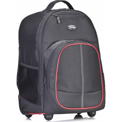 Compact Rolling Backpack for 16` Laptops - Black/Red - OPEN BOX