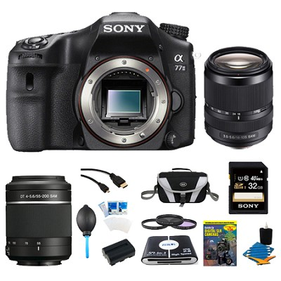 a77II 24.3MP HD 1080p DSLR Camera, 55-200mm & 18-135mm Lens Bundle
