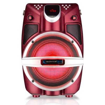 6.5` Powered Bluetooth PA System with Mic & LED Woofer - Red Shaker