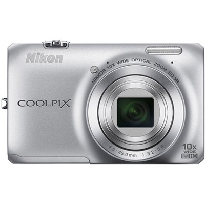 COOLPIX S6300 16MP 10x Opt Zoom 2.7 LCD Digital Camera - Silver Refurbished