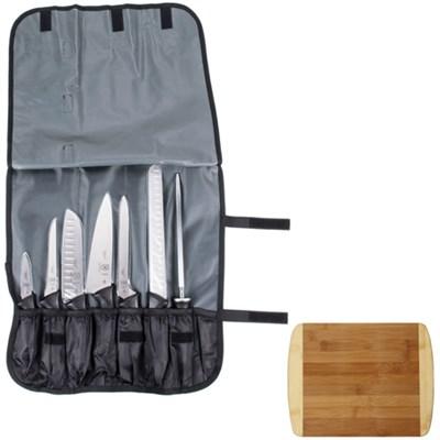 Millennia 8-Piece Knife Roll Set w/ Premium Cutting Board