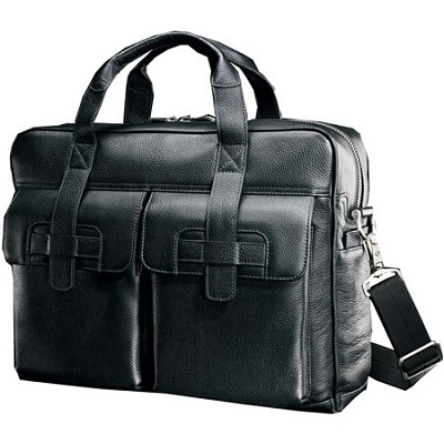 Black Label Leather Top Loading Briefcase