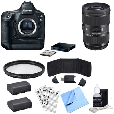 EOS-1D X Mark II DSLR Camera Body Premium Kit & Sigma 24-35mm Lens Power Bundle