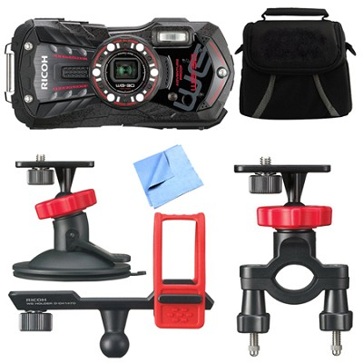 WG-30 16 MP Waterproof Digital Camera with 3-Inch LCD Ebony Black Action Bundle