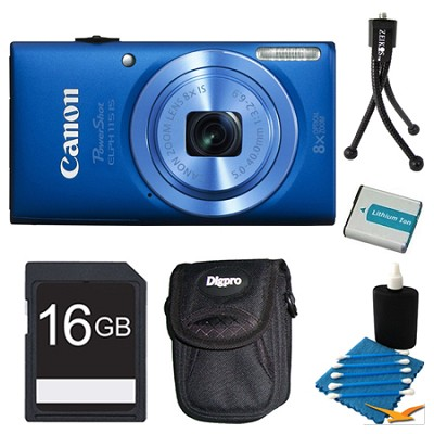 Powershot ELPH 115 IS Blue Digital Camera 16GB Bundle