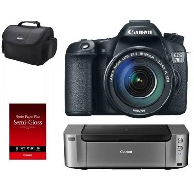 EOS 70D DSLR Camera Kit w/ 18-135mm IS STM Lens and Inkjet Printer