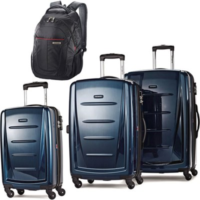 Winfield 2 Fashion Hardside 3 Piece Spinner Set - Deep Blue w/ Business Backpack