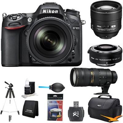 D7100 DX-Format Digital HD-SLR w/ 18-105mm, 85mm, 70-200mm, TC-14E II Bundle