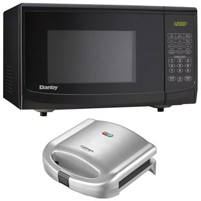 Danby 0.7 cu.ft. 700 Watt Countertop Microwave, (Black) +Cuisinart Sandwich Gril