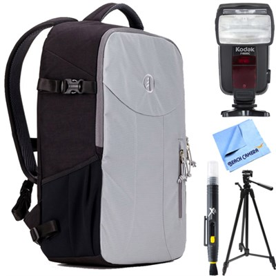 Nagano 16L Camera Backpack (Steel Gray) with Flash Bundle for Canon