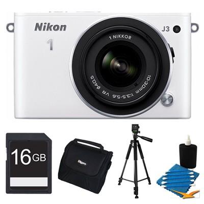 1 J3 14.2MP White Digital Camera with 10-30mm VR Lens 16GB Bundle