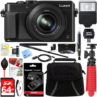 LX100 LUMIX Integrated Leica DC Lens Black Camera + 64GB Memory & Travel Bundle