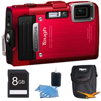 TG-830 iHS STYLUS Tough 16 MP 1080p HD Digital Camera Red 8GB Kit