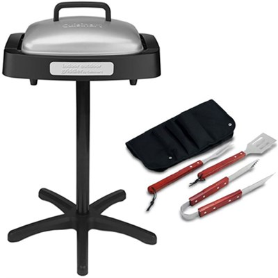 In-outdoor Grill w/Nonstick Grill & Griddle Cooking Plate+BBQ Tool Set