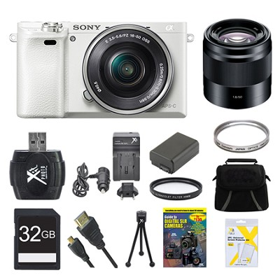 Alpha a6000 White Camera with 16-50mm and 50mm Lenses 32GB Bundle