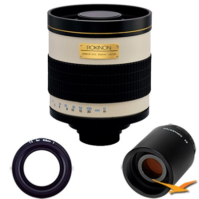 800mm F8.0 Mirror Lens for Nikon 1 and 2x Multiplier (White Body) - 800M