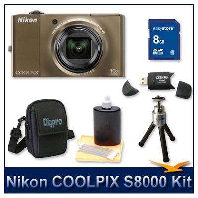 COOLPIX S8000 14.2 Megapixel Digital Camera (Bronze) Kit w/ 8GB Card