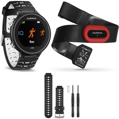 Forerunner 630 GPS Smartwatch w/ HRM-Run - Black/White - Black/White Band Bundle