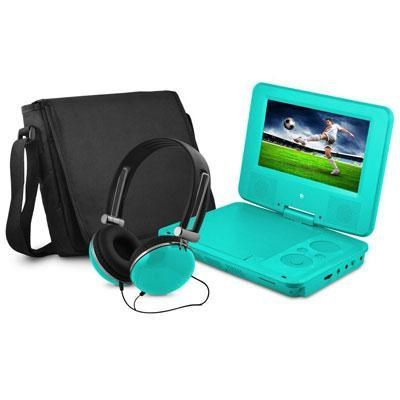 7` Swivel Portable DVD Player with Headphones and Bag in Teal - EPD707TL
