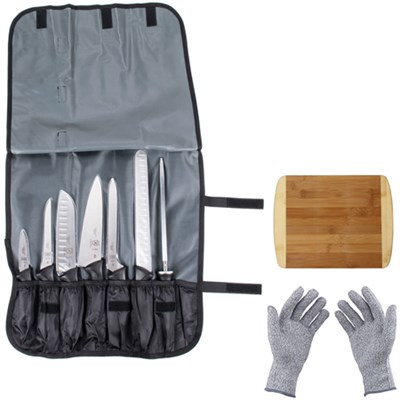 Millennia 8-Piece Knife Roll Set w/Protective Gloves & Cutting Board