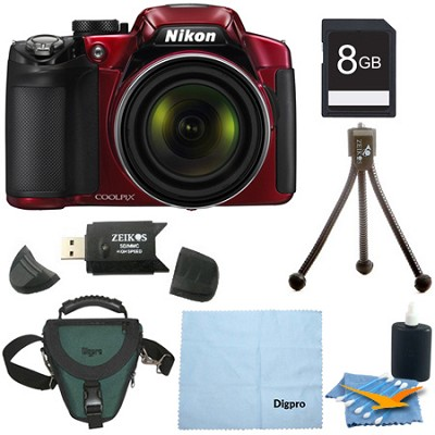 COOLPIX P520 18.1 MP Digital Camera with 42x Zoom (Red) 8GB BUNDLE